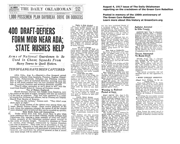 New content: The Oklahoman's reporting on the Green Corn Rebellion from August 4, 2017
